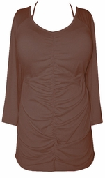 SOLD OUT!!SALE! Brown Rouched Front with Beaded Neck Tie Plus Size Top 4x 5x