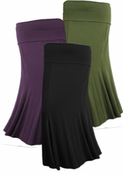 SOLD OUT!!!!!!SALE! Lovely Plus-Sized Plum Black or Olive Ruffled Skirts with a Flair! 6x