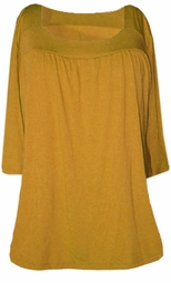 SOLD OUT!!!!SALE! Mustard Yummy Soft Square Neck 3/4 Sleeves Plus Size Babydoll Top 6x