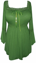 SOLD OUT!!SALE! Olive Green Lace Trim Bell Sleeve Yummy Soft Plus Size Shirts
