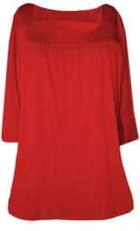 SOLD OUT!!!SALE! Red Yummy Soft Square Neck 3/4 Sleeves Plus Size Babydoll Top