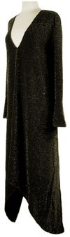 CLEARANCE! Stunning Onyx Black with Gold Glimmer Slinky Plus Size Cascading Dress 2x