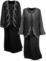 SOLD OUT! Three Piece Black & Slver Rhinestone Plus Size Jacket, Top & Skirt 3pc Set