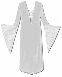 SOLD OUT!  White Lace Up Crushed Velvet Gothic Dress with Lace Detail 4x
