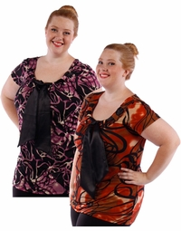 SOLD OUT! Yummy Purple & Black or Rust & Black Plus Size Slinky Tie Tops 4x 5x 6x