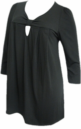 SOLD OUT!!!SALE! Yummy Cute Black Cotton Lycra 3/4 Sleeve Knot Plus Size Babydoll Tops