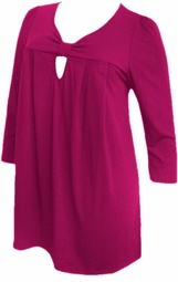 SOLD OUT!!SALE! Yummy Cute Magenta Cotton Lycra 3/4 Sleeve Plus Size Knot Babydoll Tops