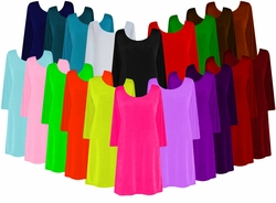 Customizable Plus Size Solid Black Blue Brown Red Pink Green Orange Purple White Slinky A-Line Shirts Jackets or Dusters Lg XL 1x 2x 3x 4x 5x 6x 7x 8x 9x