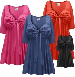 SALE! Solid Color Black Brown Blue Green Pink Purple White Slinky Plus Size Tie Babydoll Shirt Lg XL 1x 2x 3x 4x 5x 6x 7x 8x