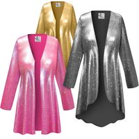 SOLD OUT! Customizable Metallic Spangle Sequin Slinky Print Plus Size & Supersize Jackets & Dusters - Sizes Lg XL 1x 2x 3x 4x 5x 6x 7x 8x 9x
