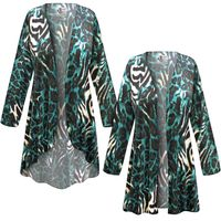 SOLD OUT! SALE! Customizable Black & Teal Animal Slinky Print Plus Size & Supersize Jackets & Dusters - Sizes Lg XL 1x 2x 3x 4x 5x 6x 7x 8x 9x