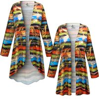 SOLD OUT! SALE! Customizable Plus Size Metallic Abstract Lines Slinky Print Jackets & Dusters - Sizes Lg XL 1x 2x 3x 4x 5x 6x 7x 8x 9x