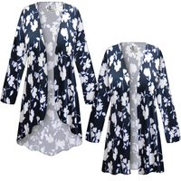 SOLD OUT! SALE! Customizable Plus Size Navy & White Floral Slinky Print Jackets & Dusters - Sizes Lg XL 1x 2x 3x 4x 5x 6x 7x 8x 9x