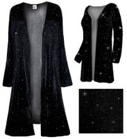 SOLD OUT! Sparkly Black with Black Glimmer Slinky Plus Size & Supersize Customizable Duster Jackets 3x