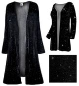CLEARANCE! Sparkly Black with Black Glimmer Slinky Plus Size & Supersize Customizable Duster Jackets 0x 1x