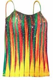 SOLD OUT! Sparkly Colorful Lines Tie Dye Spaghetti Strap Rhinestud Plus Size Tank Top 4x