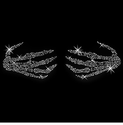 SALE! Sparkly Rhinestud Rhinestones Skeleton Hands Halloween Costume Plus Size & Supersize T-Shirts L XL 1x 2x 3x 4x 5x 6x 7x 8x