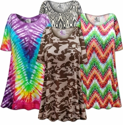 SUPER SIZE<br>T-Shirts Plain & With All-Over Print<br>(extra long & extra roomy hips!)<br>(Sizes 0x to 9x)<p align=left>