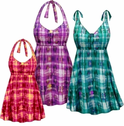 SALE! Customizable Plus Size Sunseeker Print Halter or Shoulder Strap 2pc Swimsuit/SwimDress 0x 1x 2x 3x 4x 5x 6x 7x 8x 9x