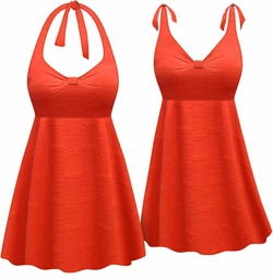 Customizable Plus Size Burnt Coral Stamped Print Halter or Shoulder Strap 2pc Swimsuit/SwimDress 0x 1x 2x 3x 4x 5x 6x 7x 8x 9x