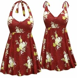 NEW! Customizable Plus Size Burgundy Floral Print Halter or Shoulder Strap 2pc Swimsuit/SwimDress 0x 1x 2x 3x 4x 5x 6x 7x 8x 9x