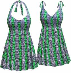 NEW! Customizable Plus Size Navy with Green Leaves Print Halter or Shoulder Strap 2pc Swimsuit/SwimDress 0x 1x 2x 3x 4x 5x 6x 7x 8x 9x