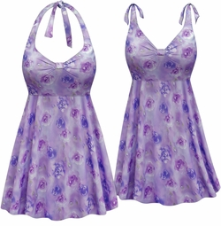 NEW! Customizable Plus Size Lavender Floral Print Halter or Shoulder Strap 2pc Swimsuit/SwimDress 0x 1x 2x 3x 4x 5x 6x 7x 8x 9x
