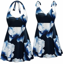 NEW! Customizable Plus Size Navy Gardenia Print Halter or Shoulder Strap 2pc Swimsuit/SwimDress 0x 1x 2x 3x 4x 5x 6x 7x 8x 9x