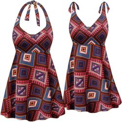 Customizable Plus Size Burgundy Patchwork Print Halter or Shoulder Strap 2pc Swimsuit/SwimDress 0x 1x 2x 3x 4x 5x 6x 7x 8x 9x