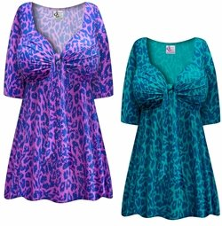 SALE! Plus Size Silver Speckled Animal Slinky Tie Babydoll Shirt Sizes Lg XL 1x 2x 3x 4x 5x 6x 7x 8x