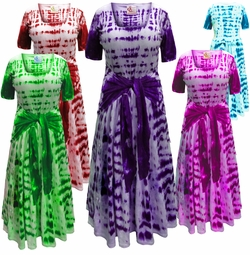 NEW! Plus Size Black Navy Turquoise Pink Green Purple or Red Short Sleeve Tie Dye Cotton Summer Mock Wrap Dress Lg XL 0x 1x 2x 3x 4x 5x 6x 7x 8x