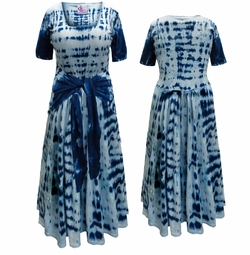 NEW! Plus Size Navy Short Sleeve Tie Dye Cotton Summer Mock Wrap Dress Lg XL 0x 1x 2x 3x 4x 5x 6x 7x 8x