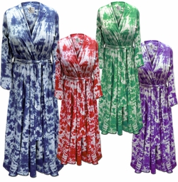 SALE! Plus Size Black Navy Turquoise Pink Green Purple or Red Marble Tie Dye Flowy Poly/Cotton Robe - Size 0x 1x 2x 3x 4x 5x 6x 7x 8x 9x
