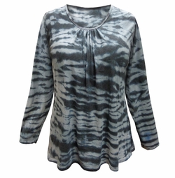 SALE! Plus Size Gray Horizon Tie Dye Long Sleeve T-Shirt 5x