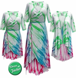 SALE! Plus Size Colorful Rainbow Tie Dye Print Cascading Wrap Dresses, Tops, Jackets & Cover-ups Lg Xl 0x 1x 2x 3x 4x 5x 6x 7x 8x