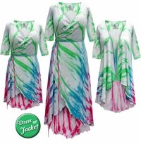 NEW! Plus Size Colorful Rainbow Tie Dye Print Cascading Wrap Dresses, Tops, Jackets & Cover-ups Lg Xl 0x 1x 2x 3x 4x 5x 6x 7x 8x