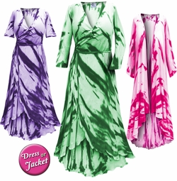NEW! Plus Size Black Navy Turquoise Pink Green Purple or Red Tie Dye Print Cascading Wrap Dresses, Tops, Jackets & Cover-ups Lg Xl 0x 1x 2x 3x 4x 5x 6x 7x 8x