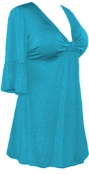 SALE! Plus Size Turquoise or Teal Poly/Cotton Sexy Low-Cut Flutter Sleeve Babydoll Tops 0x 1x 2x 3x 4x 5x 6x 7x 8x 9x