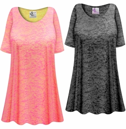 SALE! Customizable Plus Size Charcoal Burnout Print Extra Long T-Shirts Beach Coverup Tops / Swimsuit Coverups 0x 1x 2x 3x 4x 5x 6x 7x 8x 9x
