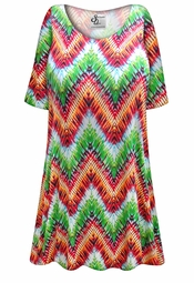 Customizable Plus Size Colorful Zigzag Print Extra Long Poly/Cotton T-Shirts 0x 1x 2x 3x 4x 5x 6x 7x 8x 9x