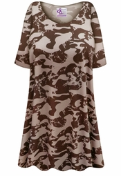 Customizable Plus Size HEAVY WEIGHT Brown Camouflage Print Extra Long Poly/Cotton T-Shirts 0x 1x 2x 3x 4x 5x 6x 7x 8x 9x