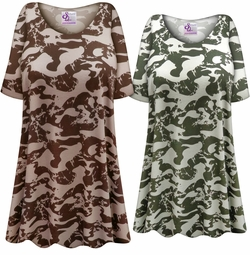 Customizable Plus Size HEAVY WEIGHT Green or Brown Camouflage Print Extra Long Poly/Cotton T-Shirts 0x 1x 2x 3x 4x 5x 6x 7x 8x 9x