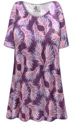 NEW! Customizable Plus Size Purple Feathers Print Extra Long Poly/Cotton T-Shirts 0x 1x 2x 3x 4x 5x 6x 7x 8x 9x