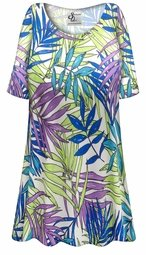 SALE! Customizable Plus Size Green Blue & Purple Leaves Slinky Print Short or Long Sleeve Shirts - Tunics - Tank Tops - Sizes Lg XL 1x 2x 3x 4x 5x 6x 7x 8x 9x