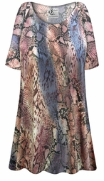 Customizable Plus Size Snake Skin Slinky Print Short or Long Sleeve Shirts - Tunics - Tank Tops - Sizes Lg XL 1x 2x 3x 4x 5x 6x 7x 8x 9x