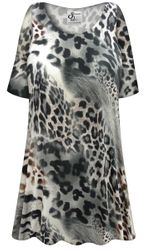 NEW! Customizable Plus Size Gray Animal Slinky Print Short or Long Sleeve Shirts - Tunics - Tank Tops - Sizes Lg XL 1x 2x 3x 4x 5x 6x 7x 8x 9x