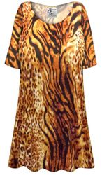 NEW! Customizable Plus Size Black & Orange Animal Slinky Print Short or Long Sleeve Shirts - Tunics - Tank Tops - Sizes Lg XL 1x 2x 3x 4x 5x 6x 7x 8x 9x