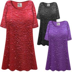 NEW! SALE! Customizable Plus Size Sparkling Red, Purple or Black Glitter Crinkle Slinky Print Short or Long Sleeve Shirts - Tunics - Tank Tops - Sizes Lg XL 1x 2x 3x 4x 5x 6x 7x 8x 9x