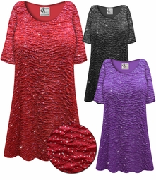 SOLD OUT! Plus Size Sparkling Purple or Black Glitter Crinkle Slinky Print Short or Long Sleeve Shirts - Tunics - Tank Tops 2x