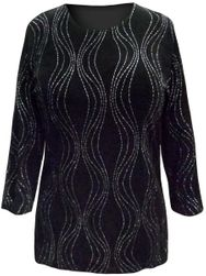SALE! Plus Size Black with Glittery Wavy Silver Lines 3/4 Sleeve Slinky Top 2x 3x